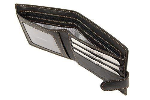 ASHWOOD - Cartera clásica de Dos Secciones - con Caja de Regalo - Cuero - Negro
