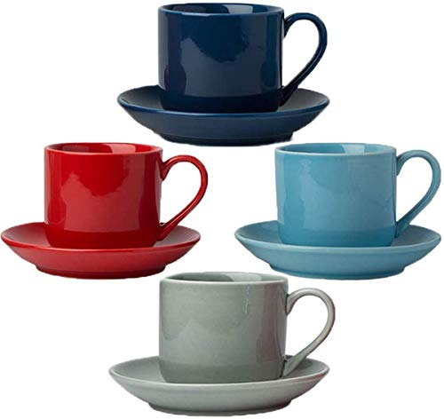 Comfify Set di 4 Tazze da caffè Espresso con piattini Coordinati - Premium White Porcellana, 8 Pezzi Regalo Demitasse Set - Tazze da caffè Italiano, Tazza di caffè Turco - scatti Lungo 112ml