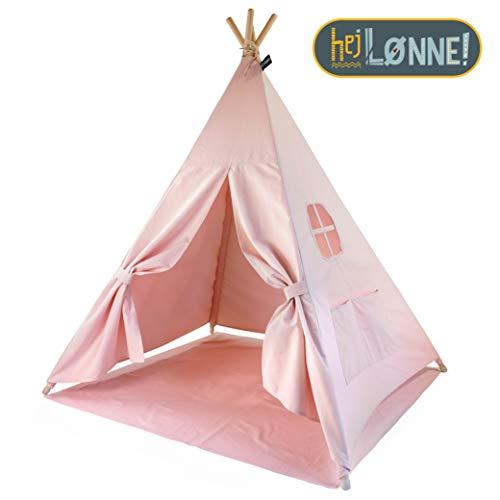 Elfique Tenda da gioco per bambini con coperta modello Tipi rosa con stelle bianche per bambini