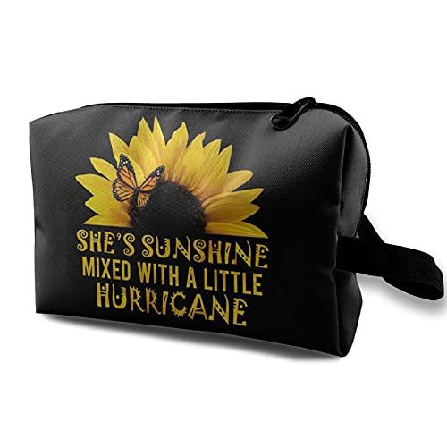 Sunflower-She's Sunshine Neceser Cosméticos Bolsa de maquillaje de viaje Bolsa de maquillaje portátil de gran capacidad