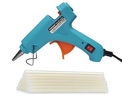 Fadman Electric 20W Turquoise Mini Hot Melt Glue Gun With 20 Pcs Hot Melt Glue Stick Standard Temperature Corded Glue Gun (7 mm)