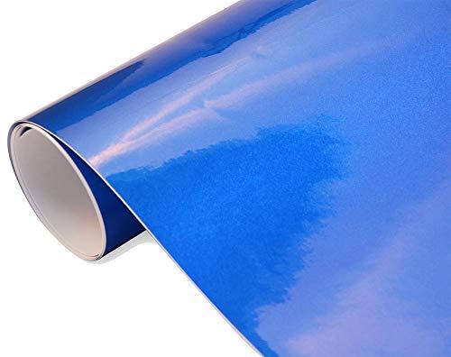 8€/m² Auto Folie - Hochglanz metallic blau 50 x 150 cm BLASENFREI Car Wrapping Klebefolie blau glänzend
