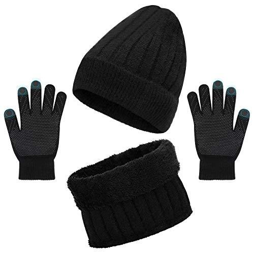 Tencoz Gorro Invierno Hombre con Bufanda, Sombreros Hombre Invierno Set de Bufanda y Gorro Beanie con Bufanda Para Hombre Mujer Gorras Beanie de Punto Calentar Sombreros para Esquí Apinismo