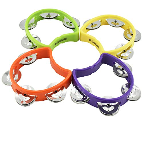 MUSICUBE Plastic Hand Tambourine Bells, 4 Cymbal Bells on ABS Plastic Hand, Kids Music Rhythm Toys, 4 Pack