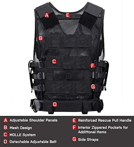 GLORYFIRE Tactical Vest Modular Assault Vest Law Enforcement Vest Adjustable Lightweight Breathable Combat Training Vest