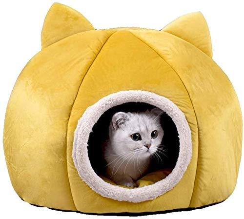 Abcoll Katzenbett Flauschig Katzenhöhle Warm Iglu-Haustier-Bett for Innen Kätzchen Und Kleine Hunde (Farbe : Gelb, Größe : L(48 * 48 * 47cm))
