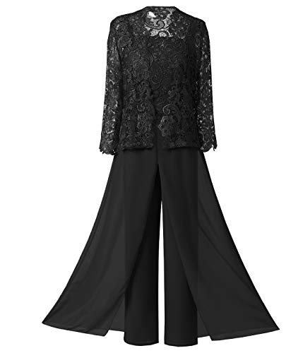 LoveeToo Women's 3 Pieces Mother Of Bride Dress Pant Suits With Lace Pleat Jacket For Wedding