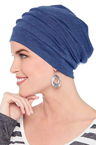 Headcovers Unlimited Slouchy Snood-Caps for Women with Chemo Cancer Hair Loss (Royal Blue Heather)