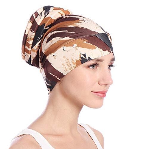 KPPONG 2018 Frauen Mädchen kleines Blumen Stirnband indischer moslemischer Lotosblatt Krebs Chemotherapie Hut nach dem Haar mit Kapuze Make uperbsen Schal Schals wickelte Kappe EIN