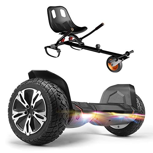 """Gyroor G2 Hoverboard 8.5"""" Off Road All Terrain Hoverboards Bluetooth Speaker&LED Lights Two-Wheel Self Balancing Hoverboard with Kart Seat Attachment UL2272 Certified for Kids & Adults(Black)"""