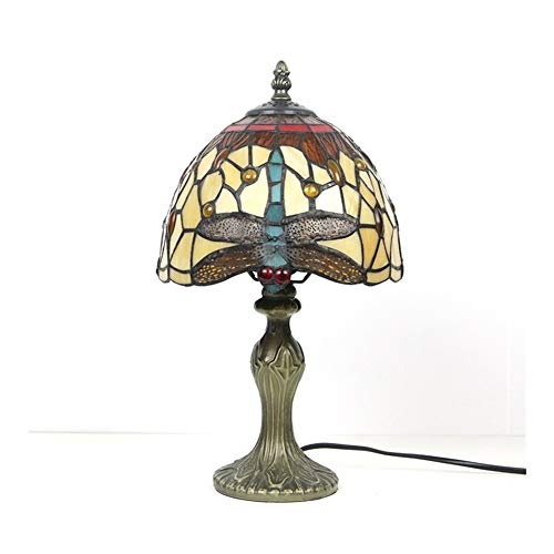 SWL Tiffany Style Mini Accent Lamp Red Yellow Jewels Dragonfly Bedside Nightstand End 8Inch wide for Kids Room Living Room Bedroom.