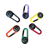 STOBOK 24pcs Compass Climbing Carabiner Outdoor Self Locking Carabiner Clip Hook Keychain for Travelling Hiking (Random Colors)