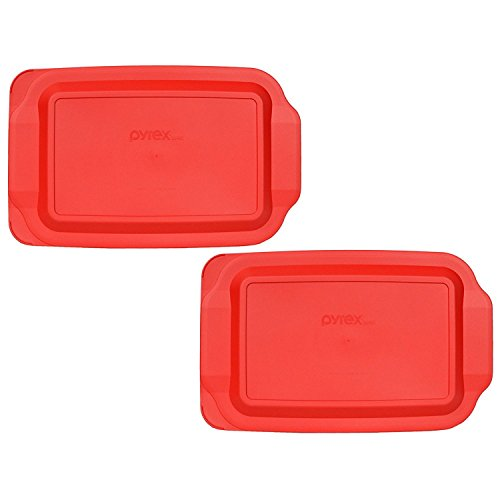 Pyrex 233-PC Red Rectangle Standard Baking Dish Lid - 2 Pack (Lid Only - Dish NOT Included)