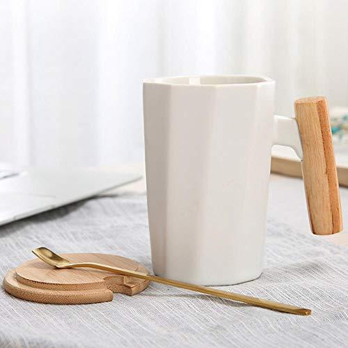 Tgbyhnujm Koffiemok met houten handvat, keramiek, geometrie, melkop, kantoor, water, kop, huis, dranken, kopje, 1 kop, 1 lepel, 1 deksel