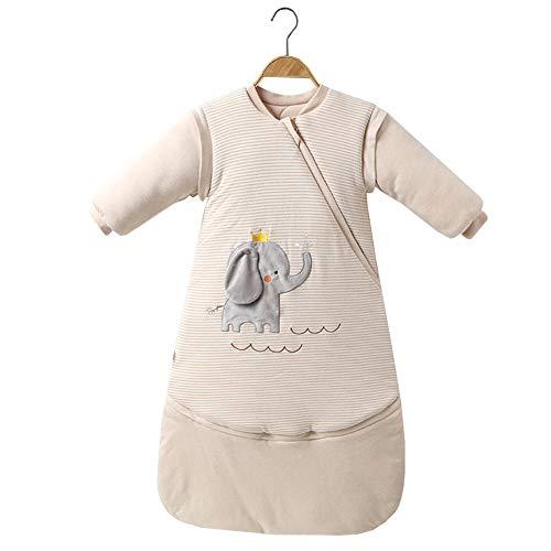 JSIHENA Schlafsack Füßen warm gefüttert für den Winter Ärmeln Kinder Anti-Kick ist verdickt warme abnehmbare Multifunktions-Schlafsack Baby Baby Farbe Baumwolle Beine,Elephants