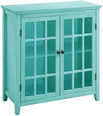 Riverbay Furniture Antique Double Door Turquois Cabinet Popular Reservation in Curio