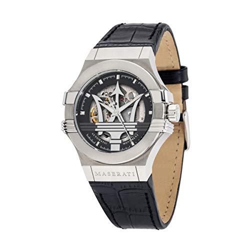 Herrenuhr, Kollektion Potenza, Automatik-Uhrwerk, nur mit Zeitanzeige, aus Edelstahl und Leder - R8821108001