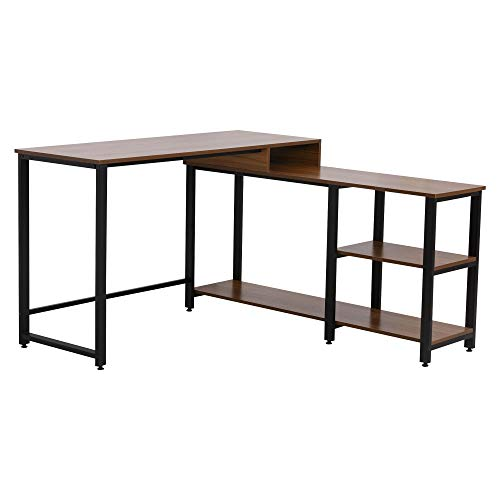 HOMCOM Computertisch, L-förmiger Eckschreibtisch, Schreibtisch, Bürotisch, Gamingtisch, PC-Tisch, Spanplatte+Stahl, Natur+Schwarz, 130 x 130 x 78 cm