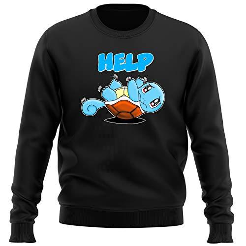 Okiwoki Pull Noir Parodie Pokémon - Carapuce - Help !!! (Sweatshirt de qualité Premium de Taille L - imprimé en France)