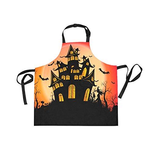 XiangHeFu Lätzchen Schürzen mit 2Taschen Night Full Moon Happy Halloween 69,8x 73,7cm verstellbares Umhängeband für Männer Frauen Kochen Backen Chef Küche