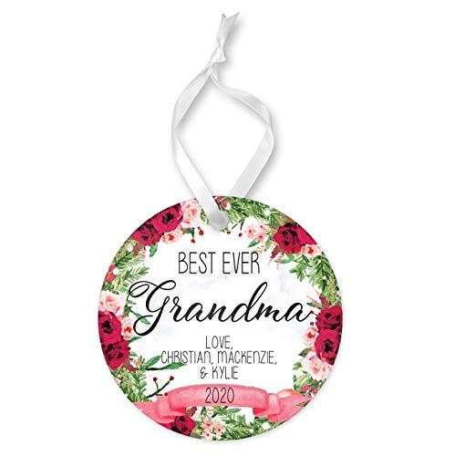 Adorno de Navidad 2020 personalizado mejor regalo para abuela, adorno redondo de cerámica y cinta de recuerdo navideño, diseño de rosas rojas y rosas rosas de árbol de Navidad adornos colgantes