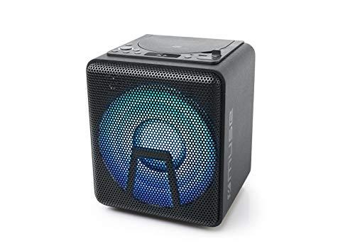 Muse Bluetooth Party-luidspreker met accu, CD-speler en lichteffecten (USB, AUX), zwart 100 Watt zwart