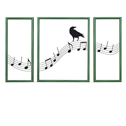 RAABEC Triptychon Bilderrahmen, Größe 50x80cm / 80x50cm Farbe Grün - Holzstruktur, ideal für Malen nach Zahlen Triptychon Bilder von Schipper oder Ravensburger und auch für Keilrahmen geeignet
