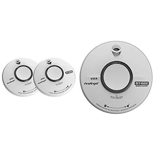 FireAngel TST-622Q Smoke Alarm, 2 Pack & ST-622Q 10 Year Thermally Enhanced Optical Smoke Alarm, Multi-Colour
