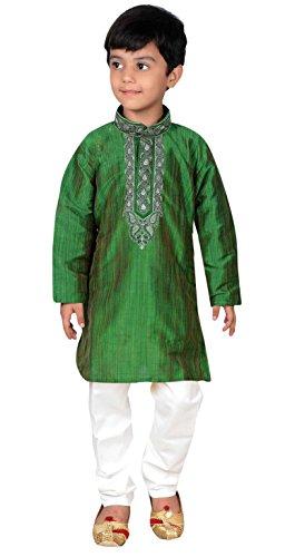 Desi Sarees Desi Sarees Jungen Kurta Pyjama Shalwar Kameez Party Sherwani Outfit 875 (4 Jahr, Grün)