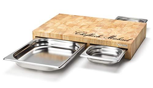 Continenta Multifunktionsbrett MIT Gravur (z.B. Namen) Stirnholz mit 3 Edelstahl-Schubladen 50 x 32,5 x 8,5 cm - großes Küchenbrett Schneidebrett aus Holz mit Edelstahlschublade/Auffangschale
