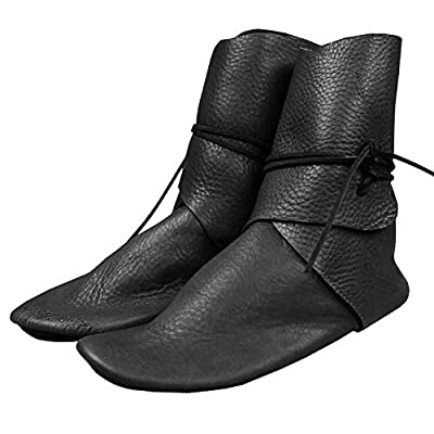 Syktkmx Mens Renaissance Slip on Loafer Boots Lace Up Medieval Cosplay Western Pirate Viking Tied Halloween Cuff Shoes by