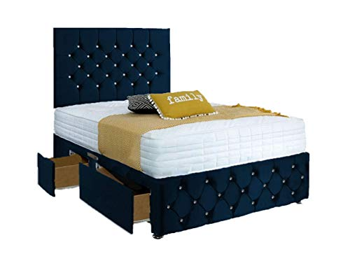 ComfoRest, Bedding & Upholstery Innovation Leader Comfort24 Plush Velvet Chesterfield Divan Bed Set + Memory Mattress + 24' Ibex HB (4 Drawers CONTI) (Blue, 4FT6 - Double)