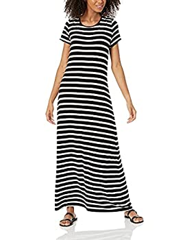Amazon Essentials Women s Patterned Short-Sleeve Maxi Dress French Stripe Black S