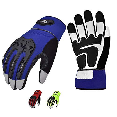Vgo GA7675 Arbeitshandschuhe, hohe Fingerfertigkeit, weiches echtes Ziegenleder, Handfläche, Aufprallschutz, Touchscreen, Bauausrüstung, strapazierfähig, 3 Farben, GA7675P3-M-3C-L, 3 Farben, Large