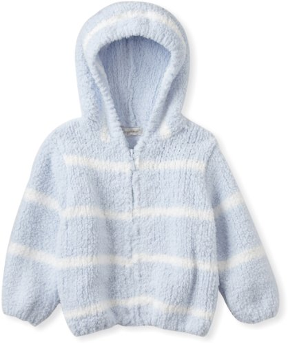 Angel Dear Baby-boys Infant Striped Chenille Hooded Jacket, Light Blue/Ivory, 0-6 Months