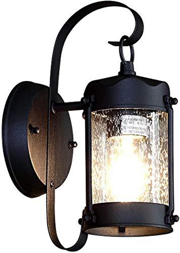 GIOAMH Lámpara de pared para jardín al aire libre, luz exterior negra antigua con pantalla de cristal, blanco cálido, enchufe E27, aplique de pared resistente a la intemperie de aluminio fundido para