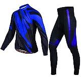 PGONE Mens clásico de Invierno Ciclismo Conjunto al Aire Libre de la Bici de Deporte Azul Chaqueta a Prueba de Viento térmica de Manga Larga (Size : Medium)