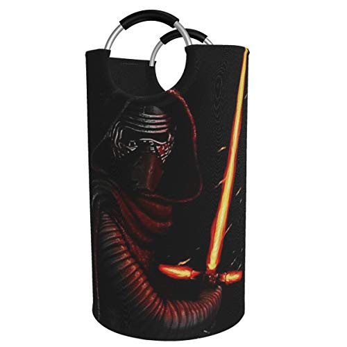 82L Round Large Laundry Hamper Basket, Laser Sword Star Wars Foldable Storage Bin for Toys and Clothes with Durable Handles