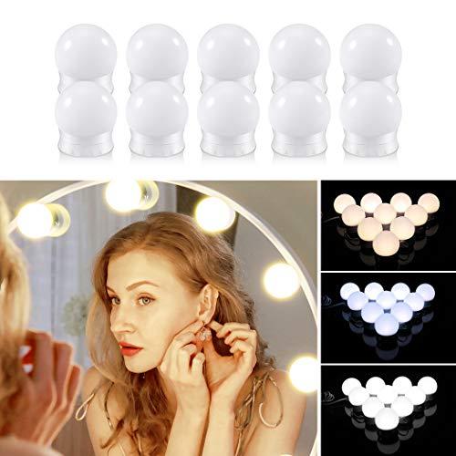 LED Spiegelleuchte, ZOTO Hollywood LED 10 Dimmbar Schminklicht, USB Aufladen Make up Licht mit 3 Farbmodi und 10 Helligkeiten(ohne Spiegel und USB-Ladegerät)