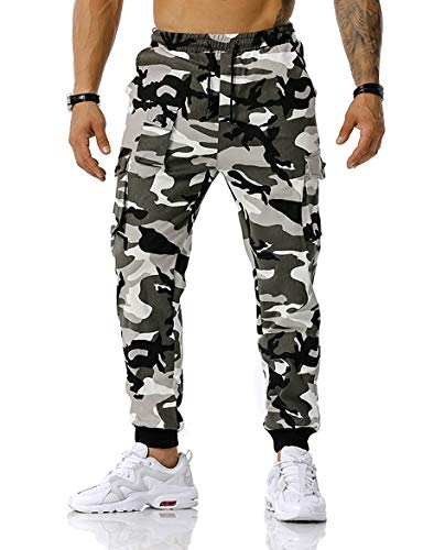 Esobo Men's Military Training Athletic Camouflage Pants Multi-Color Cotton Hiking Tactical Pant