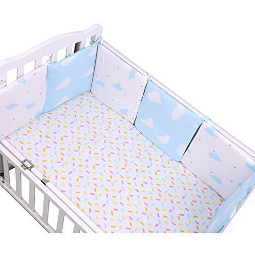 Pinji 6PCS Protectores para Cuna Cama Ropa de Cuna Cama para Seguridad de Bebé Suave Cómodo de Algodón Puro #4
