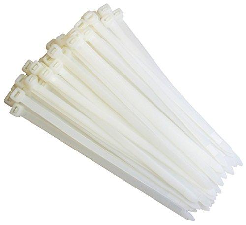 Lot de 50 serre-câbles autobloquants Taille XXL Blanc/naturel 7,6 x 750 mm