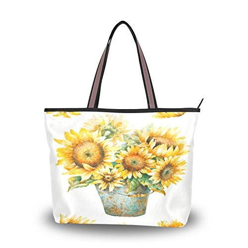 NaiiaN Borse Tracolla leggera Tracolla per pittura a olio di girasole Borsa per la spesa Shopping Tote Bag Borse a tracolla per donne Ragazze Studentesse