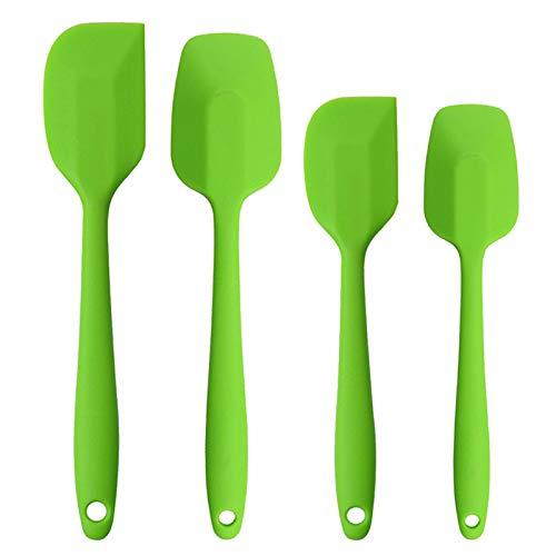 Silicone Spatulas Set, Rubber Spoon Spatula Heat Resistant Spoonula One Piece Design Seamless Spatula Non-Stick Scrapers Baking Mixing Tool (Green)