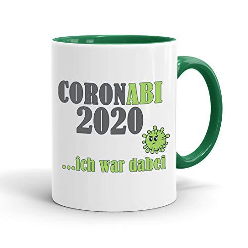 True Statements Tasse Coronabi 2020 ich war dabei - schöne Tasse als Geschenk zum Abitur, innen dunkelgruen