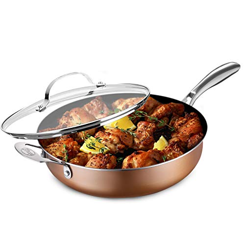 Gotham Steel Sauté Pan with Lid – 5.5 Quart Multipurpose Nonstick Jumbo Cooker with Glass Lid, Stainless Steel Handle & Helper Handle, Oven & Dishwasher Safe, 100% PFOA FREE