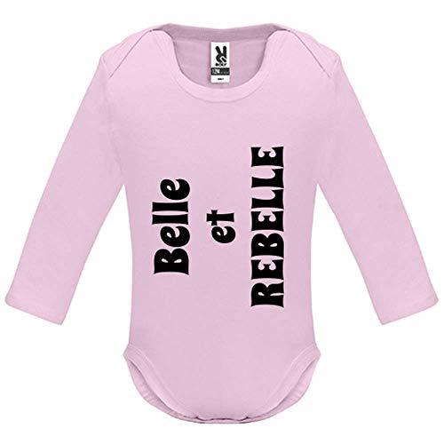 Body bébé - Manche Longue - Belle et Rebelle - Bébé Fille - Rose - 18MOIS