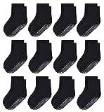 Toddler Non Slip Grip Socks 12 Pairs Baby Boy/Girl High Ankle Sticky Slipper Floor Skid Socks For 7-10T Boy Kids