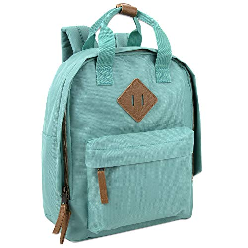 Canvas Mini Backpack for Everyday & Day Pack Rucksack in Solid Color Blocks (Green)