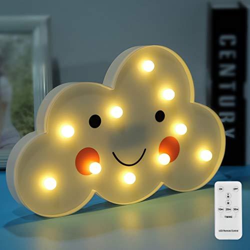 Nube LED Luces nocturnas Emoji Face Marquee Signos de luz Control remoto Lámpara de mesa con pilas Niñas Niños Regalo Juguete Vivero Sala de estar Decoración del hogar